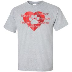 Adopt Sponsor Rescue Unisex T-Shirt with Paw and Heart