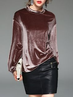 Shop Long Sleeved Tops - Coffee H-line Velvet Casual Long Sleeved Top online. Discover unique designers fashion at StyleWe.com.