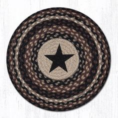 """PM-RP-313 Black Star Printed Round Placemat 15""""x15"""""""