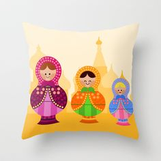Matrioskas  (Russian dolls) Throw Pillow