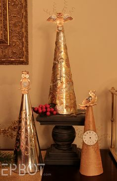 EPBOT: DIY Steampunk Cone Trees. I love her geeky goodness!