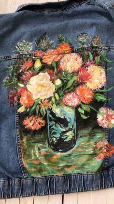 Painted custom jacket Van Gogh vase of carnations price for Painted Denim Jacket, Painted Jeans, Painted Clothes, Diy Fashion Videos, Diy Videos, Denim Kunst, Custom Denim Jackets, Van Gogh, Paint Shirts