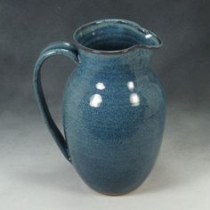 nice pitcher | Large Blue Pitcher Hand Thrown Stoneware Pottery by PhenixPottery, $36 ...