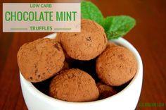 Low carb & sugar-free chocolate mint truffles.