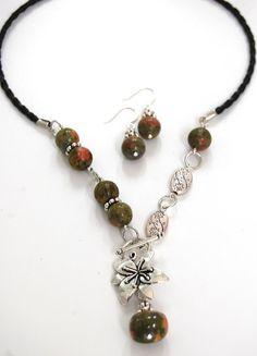 Natural Handmade Gemstone Unakite Pendant Necklace Drop Earrings Flower Focal by BeautyandtheGems on Etsy