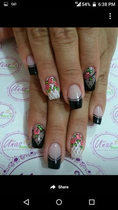 Cute Nail Art, Cute Nails, Pretty Nails, Hair And Nails, My Nails, Nancy Nails, Summer Holiday Nails, Flower Nail Art, French Tip Nails