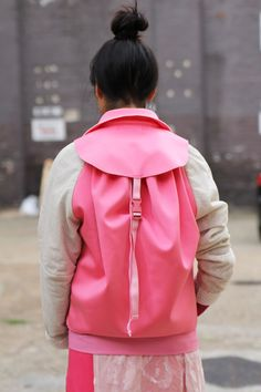 pink backpack and shirt for women, contemporary fashion, fashion design
