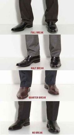 Here's a helpful guide to the difference between different pants lengths. Typically, you'll want something between a half and quarter break.