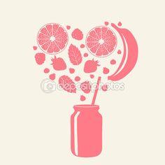 Smoothie in jar — Cтоковый вектор