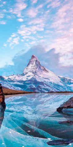 Matterhorn, mountains, nature, frozen lake, reflection, winter, 1080x2160 wallpaper