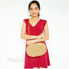 unique oval bags sling leather rattan ata bali design