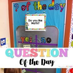 Set-up a DIY  Question of the Day board with a drip pan and a few simple materials.  Kids will love reading the different questions posted each school day!