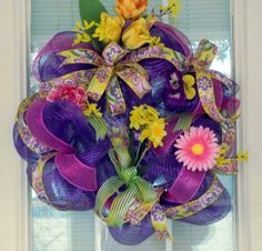 Purple Yellow Spring Easter Deco Mesh by PataylaFloralDesigns