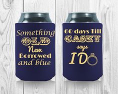 Wedding Koozies, Something Old, The Borrowers, Drink Sleeves, Wedding Designs, Perfect Wedding, Party Favors, How To Memorize Things, Touch