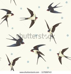 Seamless background with swallows. Pattern with a flock of birds