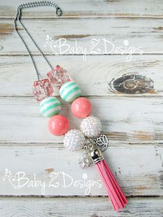 Lotus Flower and Tassel Chunky Necklace in Coral by babyzdesigns