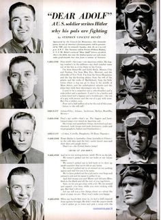 """""""Dear Adolf"""", a radio series written by Stephen Vincent Benet that ran in the summer of 1942, with American radio and film stars such as James Cagney and Helen Hayes reading letters to Hitler that represented the views of American farmers, housewives, labourers, and others which squarely answered Nazi propaganda and extolled the inevitability of an Allied victory.  Listen here: http://www.ajcarchives.org/main.php?GroupingId=4200"""
