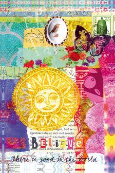 Collage-postcard  - by El' Papel   te koop in het atelier in Zweeloo of via de webshop van El' Papel!