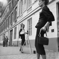 at work: model Suzy Parker behind camera