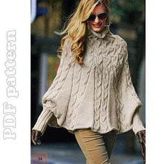 Puffy Sleeves Cable Turtleneck Poncho English Knitting Pattern PDF | CraftyLine e-pattern shop