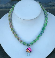 Hemp Necklace with Fimo Glass Mushroom by sherrishempdesigns, $13.99