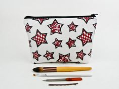 8dfe1229770e The Starlight Bag - Makeup Bag - Galaxy Tattoo Cosmetic Case - Red Black  Stars