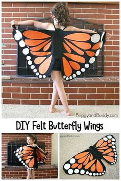 Creative Butterfly Costume Diy - Diy Felt Monarch Butterfly Wings Tutorial Diy Butterfly Costume Easy Butterfly Costume Perfect For A Last Minute Halloween Diy Felt Monarch Butterfly . Monarch Butterfly Costume, Butterfly Halloween Costume, Butterfly Wings Costume, Toddler Butterfly Costume, How To Make Butterfly, Butterfly Crafts, Butterfly Outline, Butterfly Makeup, Butterfly Face