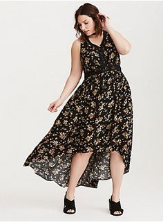 """Brace yourselves; the sundresses are coming and this is the best one. The black challis hi-lo maxi gears up for its own spring awakening with a gorgeous - but never fussy - yellow and blue floral print. Black crochet trims the button front neck and bust for a cool boho contrast.<div><br></div><div><b>Model is 5'9.5"""", size 1<br></b><div><ul><li style=""""list-style-position: inside !important; list-style-type: disc !important"""">Size 1 measures 45"""" from shoulder</li><li style=""""li..."""