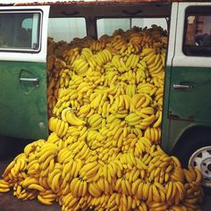 van with bananas spilling out