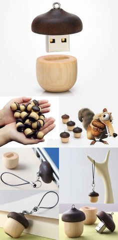 Wooden Acorn-Shaped USB Flash Drive
