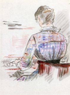 """""""Woman at the Piano"""" (circa by French artist - Édouard Manet Watercolor on paper, x cm. Georges Seurat, Mary Cassatt, Pierre Auguste Renoir, Post Impressionism, Impressionist Art, Claude Monet, Théo Van Rysselberghe, Revolutionary Artists, Edouard Manet Paintings"""