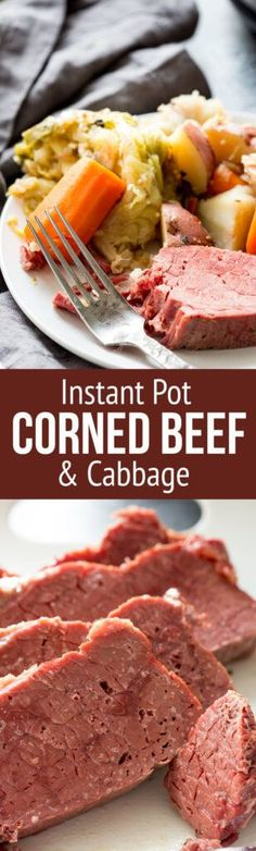 Corned Beef a tender flavorful and totally fun recipe for Corned Beef and Cabbage cooked in an instant pot or slow cooker. You only need about 5 minutes prep time to get everything ready for a delicious Irish meal of Corn Beef and Cabbage. Corned Beef Brisket, Slow Cooker Corned Beef, Corned Beef Recipes, Crock Pot Slow Cooker, Crock Pot Cooking, Slow Cooker Recipes, Crockpot Recipes, Crockpot Dishes, Easy Recipes