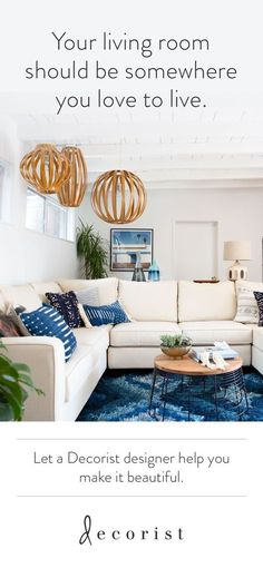 Want to design a living room you'll love to live in? @Decorist online interior design makes it easy. See why this affordable design service is loved by Vogue and Elle Decor. Turn your living room ideas into a beautiful home here https://www.decorist.com/