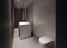 Full mirror wall, marble floor & white wall tiles behind toilet & warmth of wood wall covering. Perfect REZ bath.