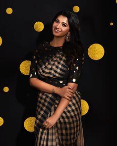 Priya Bhavani Shankar in a black checks saree and high neck elbow length sleeves blouse design with buti Priya Bhavani Shankar, Full Sleeves Blouse Designs, Saree Blouse Designs, Actress Priya, Saree Hairstyles, Bollywood Actress Hot, Tamil Actress Photos, Saree Styles, South Indian Actress
