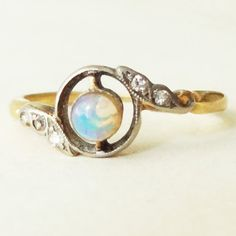 Art Deco Opal, Diamond , Platinum and 18k Gold Halo Engagement Ring Approx Size US 6.5