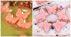 rosa Kerzen in Schmetterlingform als Frühlingsdeko
