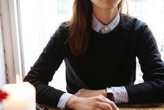 $76 Classy Chic French Girl Style Closed My Theresa Blue And White Striped Shirt Button Up Detail Blouse Dark Navy Blue Long Sleeved Sweater Back To School Style Tumblr