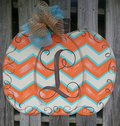 Pumpkin Door Hanger Fall Door Hanger by shabbyandsuchdesigns