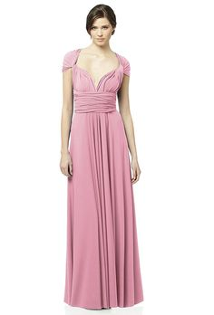 Brides: Dessy. Long twist wrap matte jersey bridesmaid dress, $135, Dessy available at Weddington Way