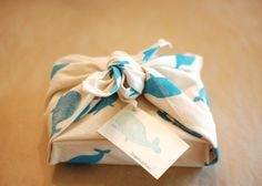 Hand printed fabric gift wrap