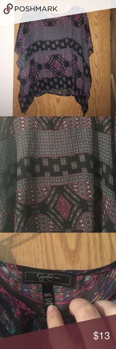 Jessica Simpson sheer batwing sleeve top size M/L Beautiful sheer multicolor Jessica Simpson batwing sleeve top size medium / large Jessica Simpson Tops Blouses