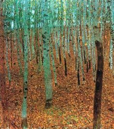 Gustav Klimt-How have I not known of this piece!?!?! Aspens, it looks like? I'm in love with Klimt all over again.