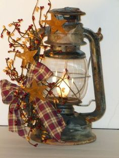 Country, Primitive Decor, Antique Railroad Oil Lantern(electric) is part of Rustic Fall decor - Prim Decor, Rustic Decor, Farmhouse Decor, Primitive Decorations, Antique Decor, Primitive Country Decorating, Rustic Christmas Decorations, Easy Primitive Crafts, Rustic Americana Decor