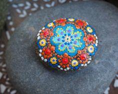 Love Stone- Blue and Orange Flower Mandala Stone