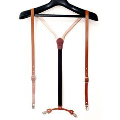 Mens Womens Leather Suspenders Y-Back Retro Braces Clip-On Leather Cowhide Brown #hellobincom