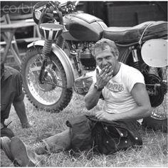 Steve McQueen with Triumph.