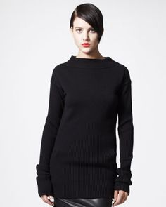 Long Ribbed Sweater by Rick Owens at Bergdorf Goodman.