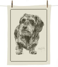 Mike Sibley Wire hair Dachshund dog print cotton tea towel - dog lover gift
