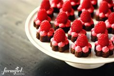 Fudge brownie bites with raspberries on top. :)